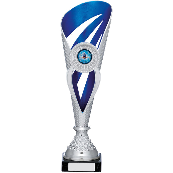 Silver And Blue Holder Trophy 32cm