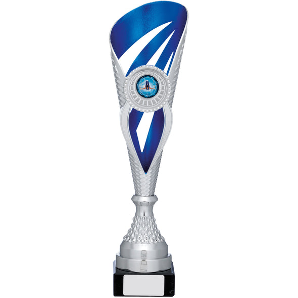 Silver And Blue Holder Trophy 35.5cm