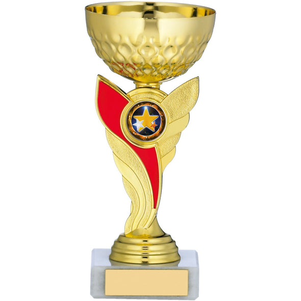 Gold Cup With Red Stem Trophy 17cm