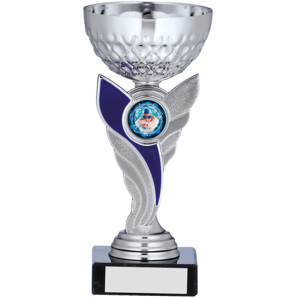 Silver Cup  With Blue Stem Trophy 17cm