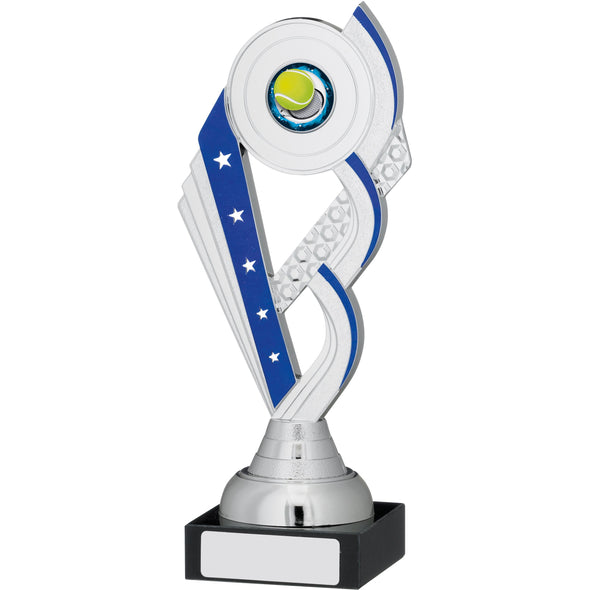 Silver And Blue Trophy Cup 20.5cm