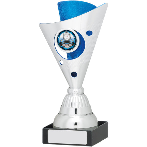 Silver And Blue Trophy 17cm