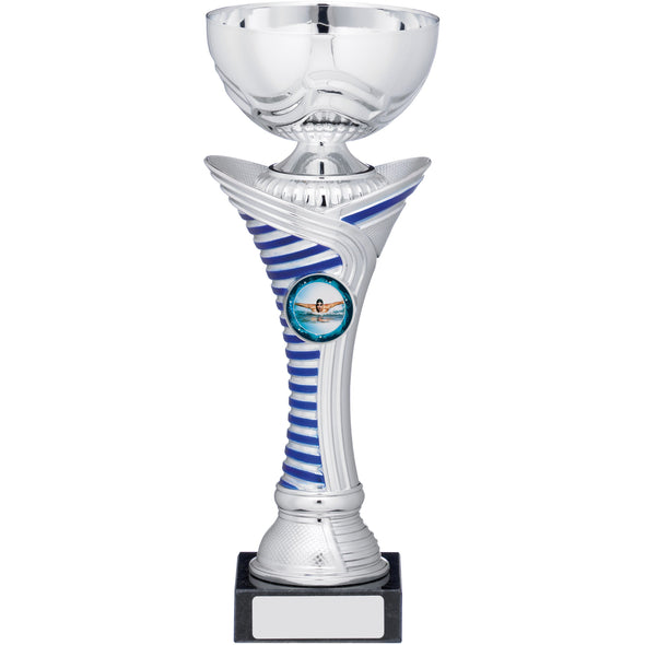 Silver With Blue Stripe Cup Trophy 23.5cm