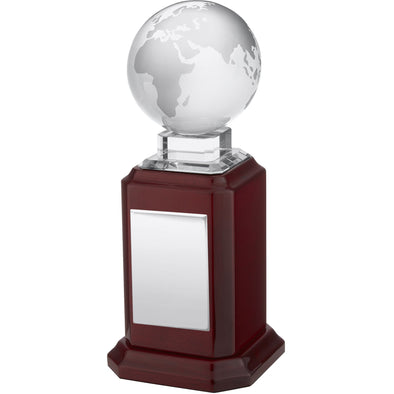 9in Crystal Globe On Piano Wood Base