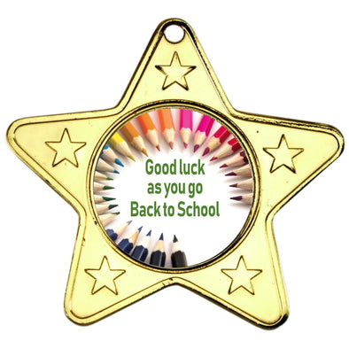 Back to School Star Shaped Medal - GOLD 2in