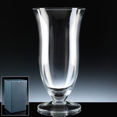 "Balmoral Glass 10"" Footed Tulip Vase, Blue Card Box"