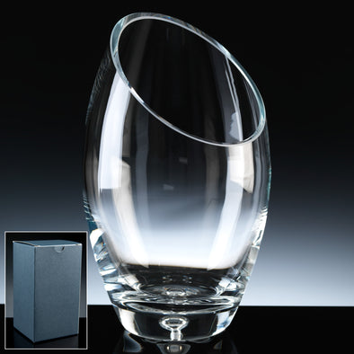 "Balmoral Glass 10"" Sliced Bubble Base Vase, Blue Card Box"
