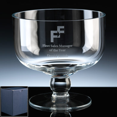 "Balmoral Glass Engraved 7"" Classic (High) Comport, Blue Card Box"