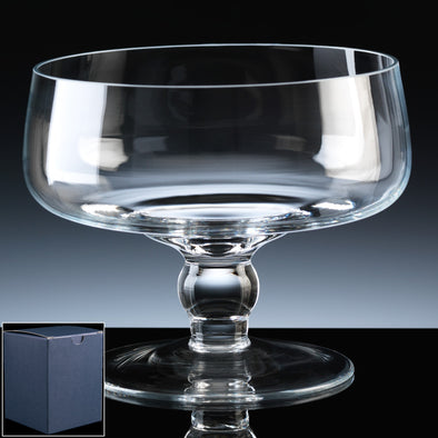 "Balmoral Glass Engraved 7"" Classic (Low) Comport, Blue Card Box"