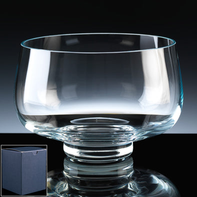 "Balmoral Glass Engraved 7"" Heeled Fruit Bowl, Blue Card Box"