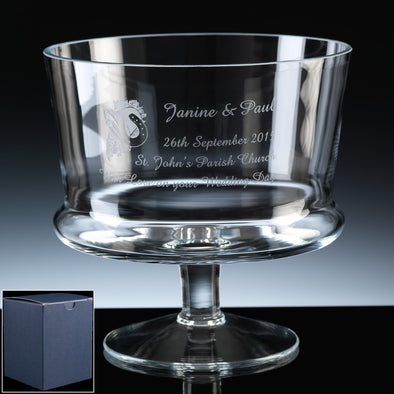 "Balmoral Glass Engraved 7"" Straight Comport, Blue Card Box"