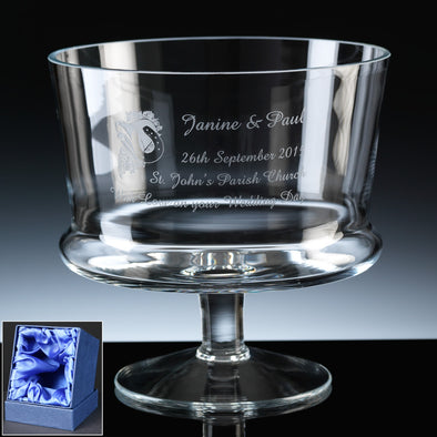 "Balmoral Glass Engraved 7"" Straight Comport, Satin Box"