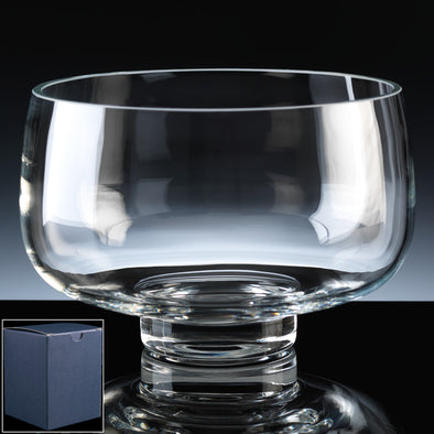 "Balmoral Glass Engraved 8"" Heeled Fruit Bowl, Blue Card Box"