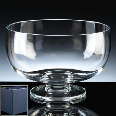 "Balmoral Glass Engraved 8"" Style Comport, Blue Card Box"