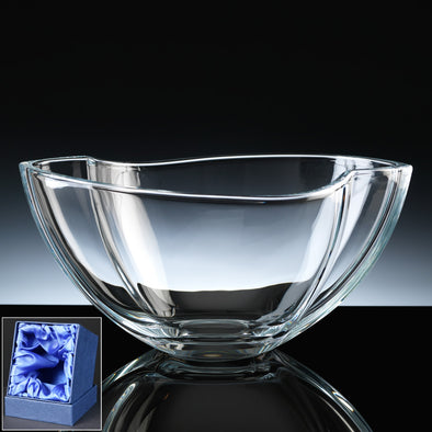 "Bohemia Crystal Engraved 11"" Smile Fruit Bowl, Satin Box"