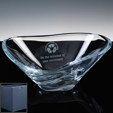 "Bohemia Crystal Engraved 12"" Kyoto Fruit Bowl, Blue Box"