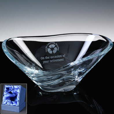 "Bohemia Crystal Engraved 12"" Kyoto Fruit Bowl, Satin Box"