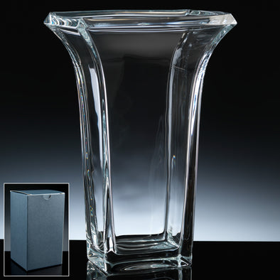 "Bohemia Crystal 12"" Rectangle Vase, Blue Box"