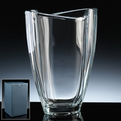 "Bohemia Crystal 9"" Smile Vase, Blue Box"