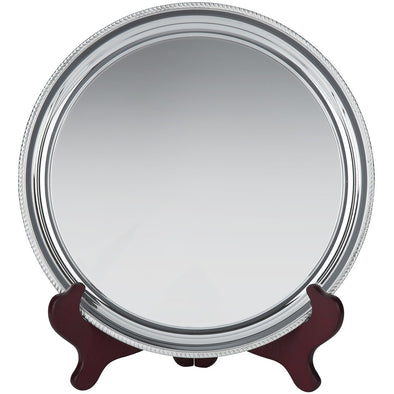 9 Inch Silver Plated Wire Mounted Gadroon Salver - Satin Lined Wooden Presentation Case - Wooden Stand
