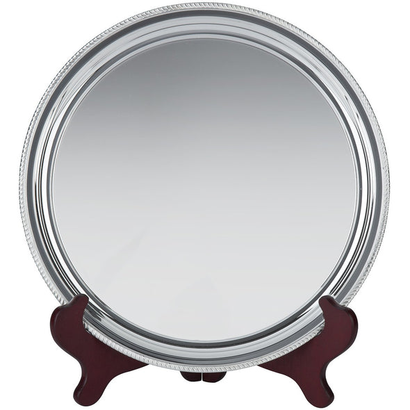7 Inch Silver Plated Wire Mounted Gadroon Salver - Satin Lined Wooden Presentation Case - Wooden Stand