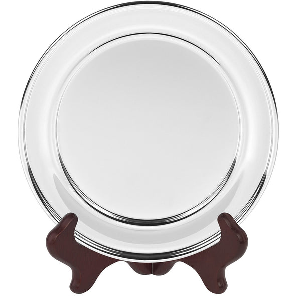 6 Inch Olde English Silver Plated Salver - Satin Lined Wooden Presentation Case - Wooden Stand