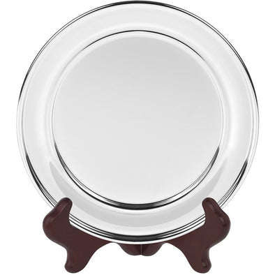 9 Inch Olde English Silver Plated Salver - Satin Lined Wooden Presentation Case - Wooden Stand