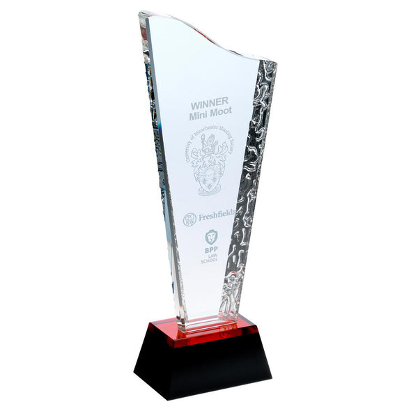 Glass Award - Plaque On Black/Red Base - 9.25in