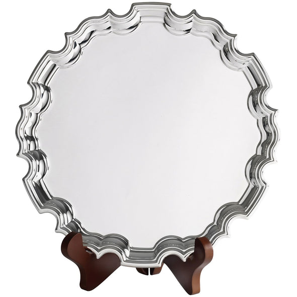 10 Inch Silver Plated Chippendale Tray With Feet - Satin Lined Wooden Presentation Case - Wooden Stand