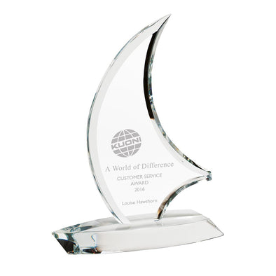 The Admiral Optical Crystal Sail Award 230mm