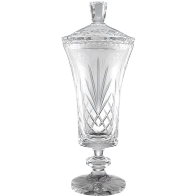 Hand Cut Crystal Vase 13.75in