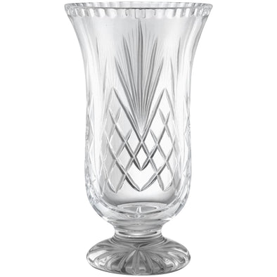 Hand Cut Crystal Vase 8in