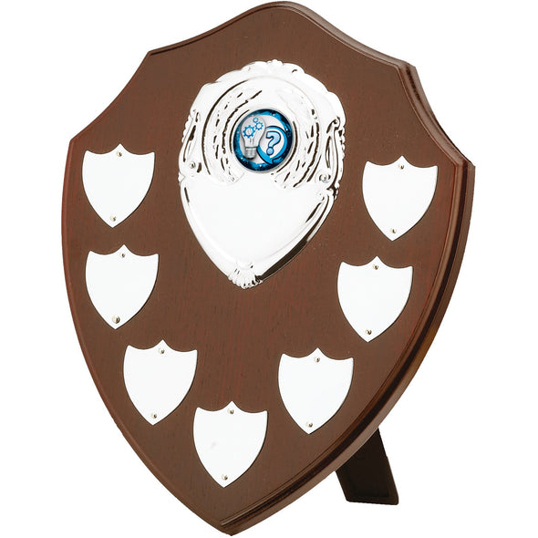 "Mahogany Finish 7 Year Presentation Shield 20.5cm (8"")"