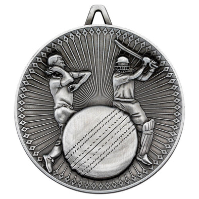 CRICKET DELUXE MEDAL - ANTIQUE SILVER 2.35in