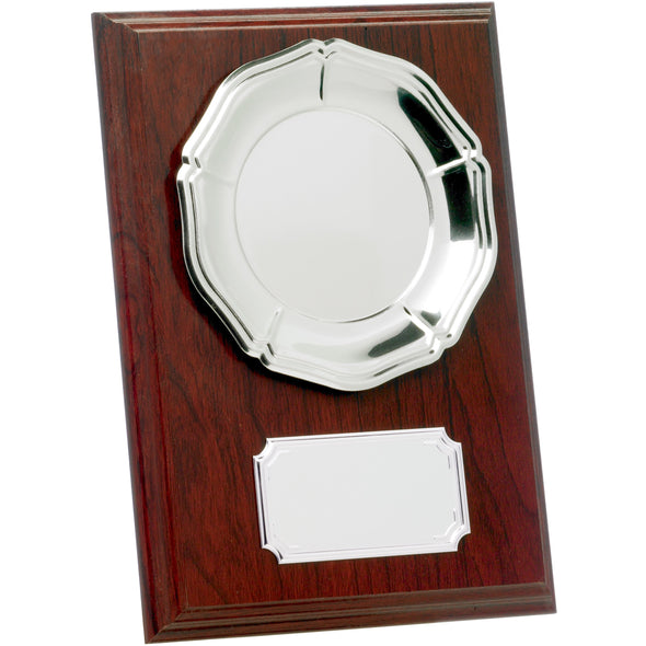 Mahogany Plaque With Tray 18cm