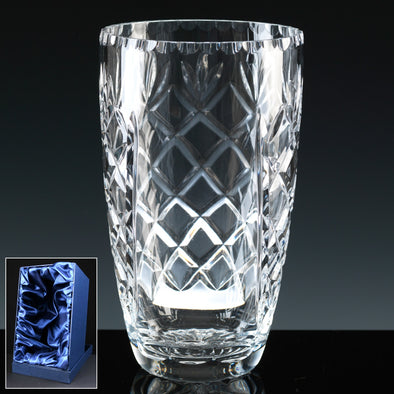 "Earle Crystal 9"" Barrel Vase, Satin Box"