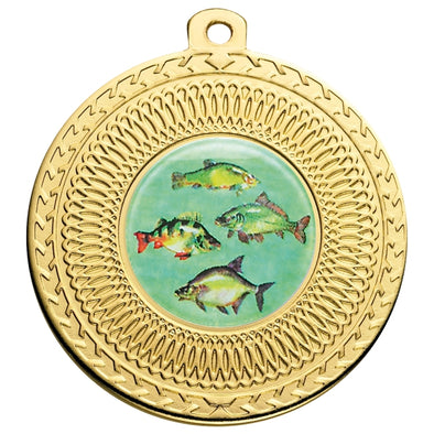 Fresh Water Fishing Gold Swirl 50mm Medal