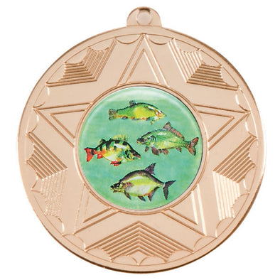 Fresh Water Fishing Gold Star 50mm Medal