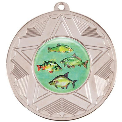 Fresh Water Fishing Silver Star 50mm Medal