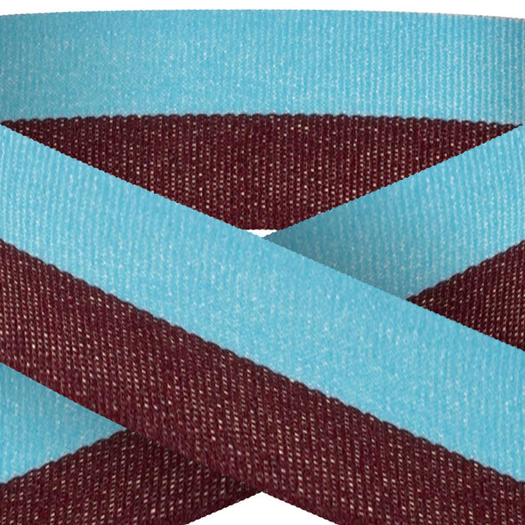 Claret And Blue 22mm Wide Ribbon And Clip