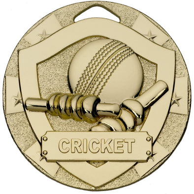 CRICKET MINI SHIELD MEDAL 50mm GOLD
