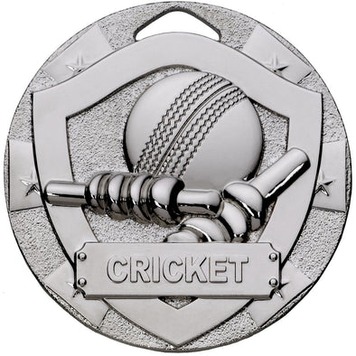CRICKET MINI SHIELD MEDAL 50mm SILVER