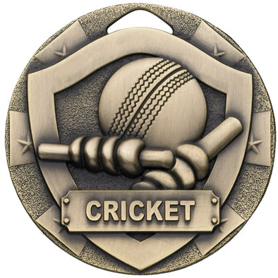 CRICKET MINI SHIELD MEDAL 50mm BRONZE