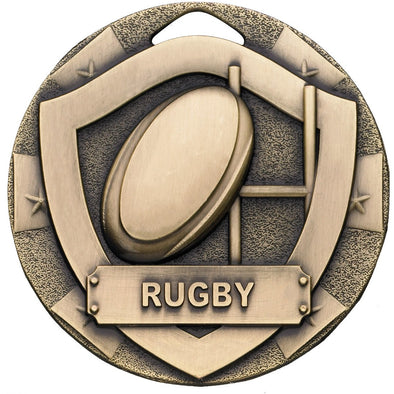 Rugby Mini Shield Medal 50mm Bronze