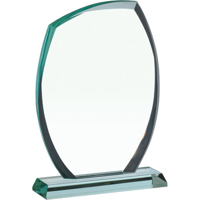 JADE GLASS OVAL PLAQUE AWARD 16.5cm
