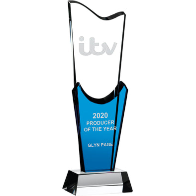 Clear And Blue Modern Glass Award on Base 26.5cm