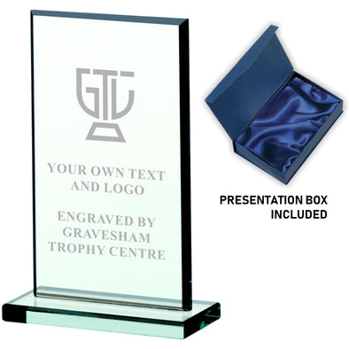 JADE GLASS RECTANGLE PLAQUE AWARD 13cm