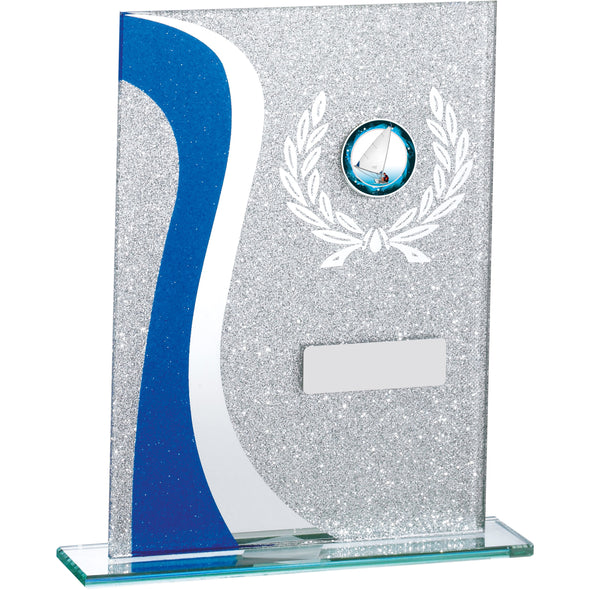 Blue Glitter Glass Award 18.5cm
