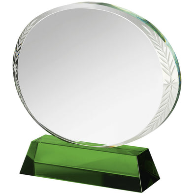 6.25in Green & Clear Crystal Award (Boxed)