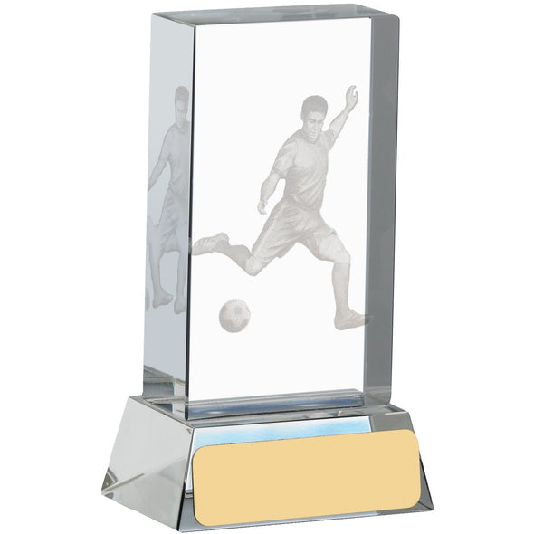 Football Glass Block With Player 10cm